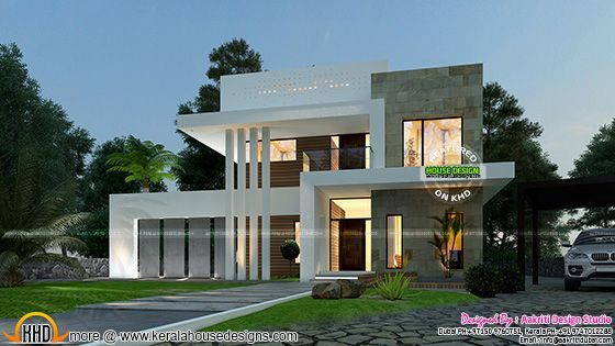Beautiful 3 Bedroom Contemporary Home Kerala House Design Contemporary House New House Plans