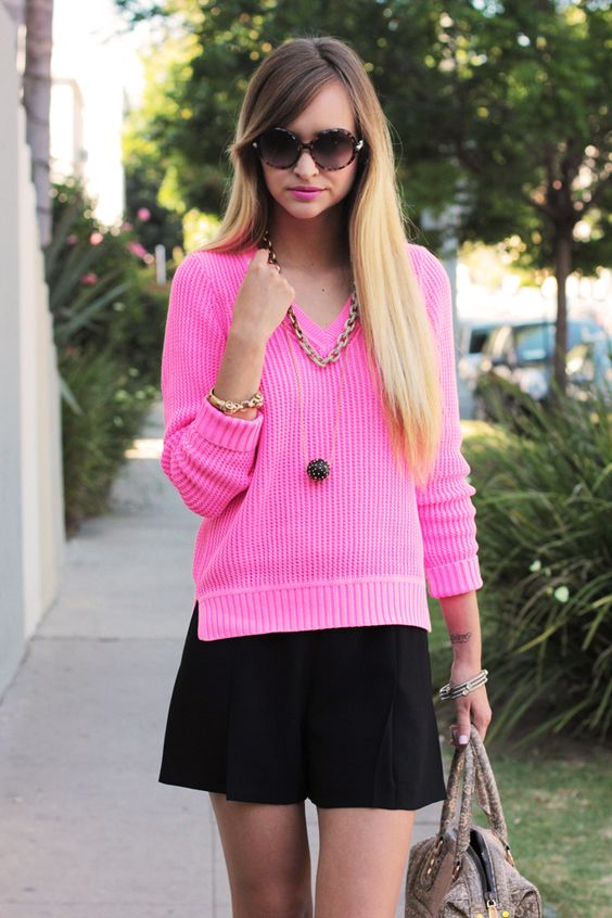 J Crew knit, Zara shorts, Ruche, necklaces, Rebecca Minkoff purse: Neon Edge, Neon Kind, Hot Pink, Jcrew Fashion, Neon Pink, Nice Outfits, My Style