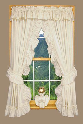 Wendy Ruffled Priscilla Window Curtains Pair 100-Inch-by-63-Inch ...