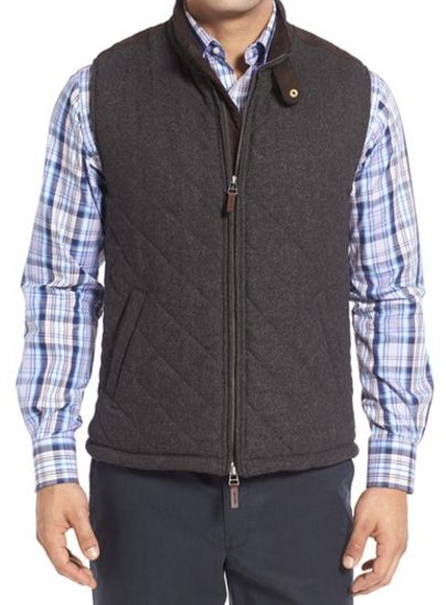 regular fit quilted tweed vest