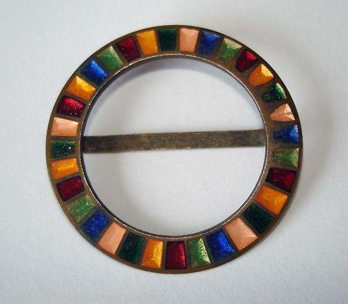 Art Deco multi-coloured enamelled round buckle