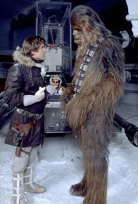From Obscure Star Wars Photos: Han and Chewbacca on Hoth.