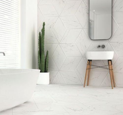 carrelage losange blanc marbre 70x40