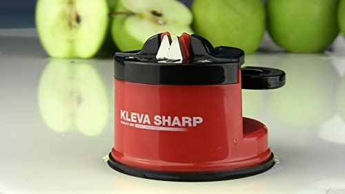 THE ORIGINAL PATENTED KLEVA SHARP KNIFE SHARPENER - Sharpen Kitchen Knives Quickly, Serrated and Even Scissor Sharpening and Garden Tools. Sharpen any Kitchen Knife, Scissors, Pruning Shears, Hedge Shears - Even your Grandmother's Butter Knife!
