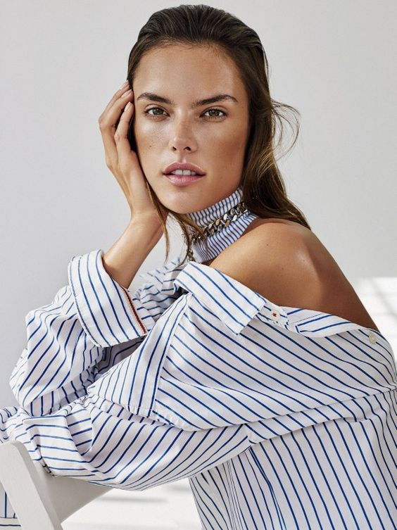 Alessandra Ambrosio rocks stripes for Glamour US January 2016 by Alique [editorial]: