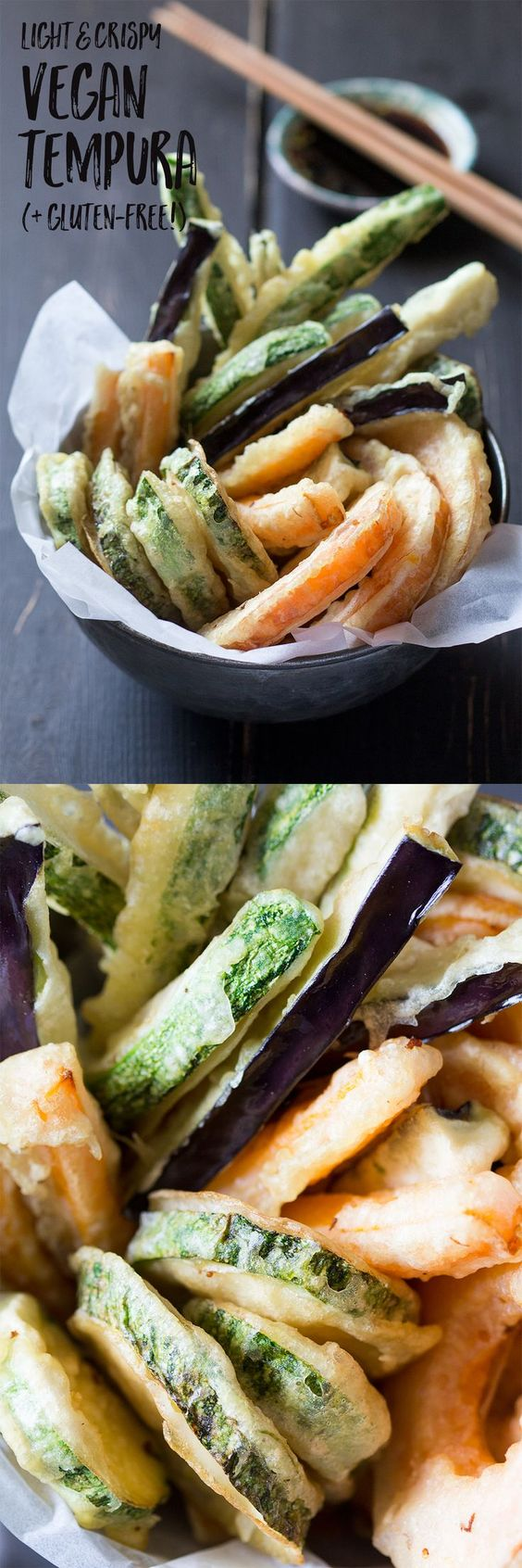 Light and crispy vegetable tempura makes an ideal dinner party appetizer. It's easy to make, vegan and can easily be made gluten-free too.