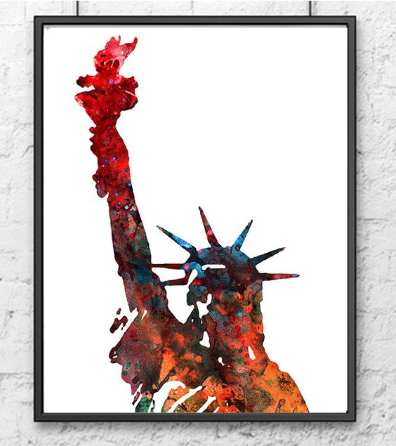 Watercolor New York: Art Print New York Statue Of Liberty Watercolor By