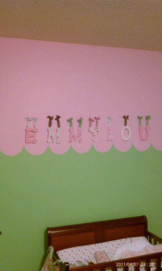 Custom Fun Letters for Emmylou's Room. By Nana