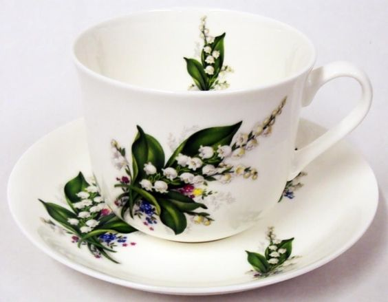 Lily+of+the+Valley+Breakfast+Cup+Saucer+Large+Cup+Saucer+Hand+Decorated
