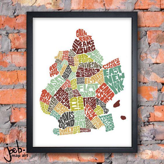 Brooklyn Neighborhoods  Typography Map Art Print by joebstudio, $24.00