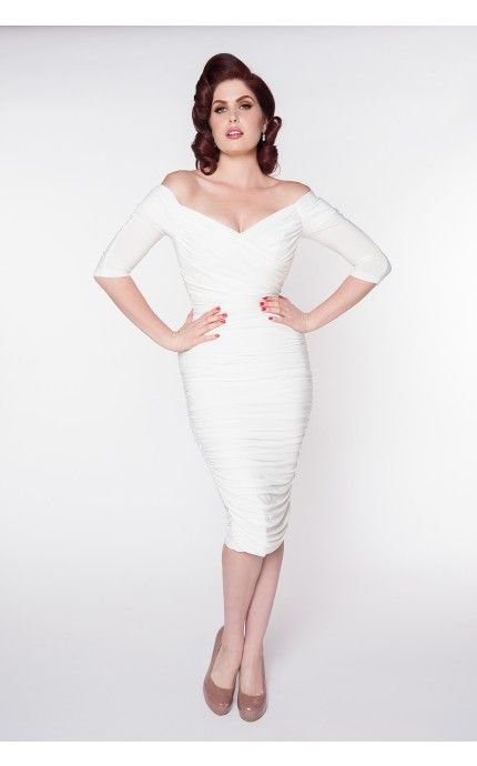 Laura Byrnes- Monica Dress in White Matte Jersey Knit  Pinup Girl ...
