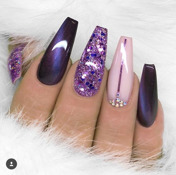 70 Attractive Acrylic Coffin Nails To Try This Fall Koees Blog Eye Nail Art Purple Nails Long Acrylic Nails
