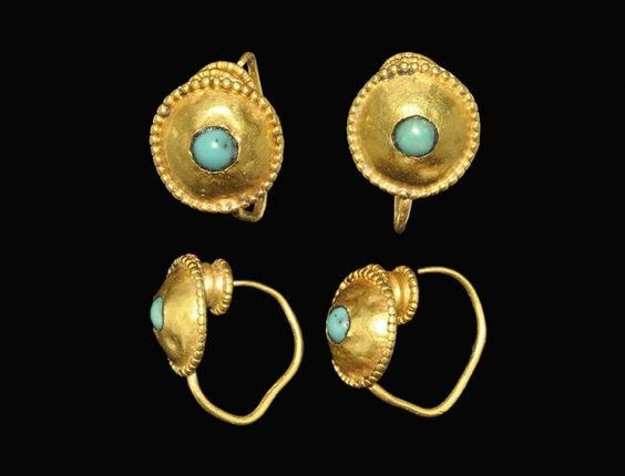 Roman Gold and Turquoise Earring Pair, 2nd-3rd century A.D.: