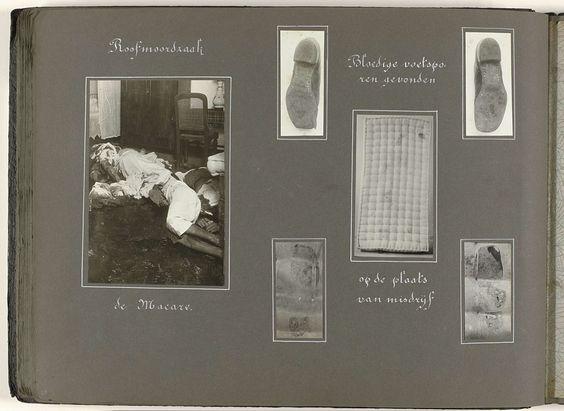 Anonymous | Roofmoordzaak, Anonymous, 1920 - 1930 | Albumblad met zes foto's van een roofmoord: een aantal vermoorde personen, matras en bloedige voetafdrukken als sporen aangetroffen op de plaats van het misdrijf. Onderdeel van het fotoalbum uit 1930 met politiefoto's over de opiumsmokkel in Indië.