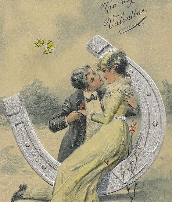 Embossed Vintage PFB Valentine Postcard Kissing by TheOldBarnDoor