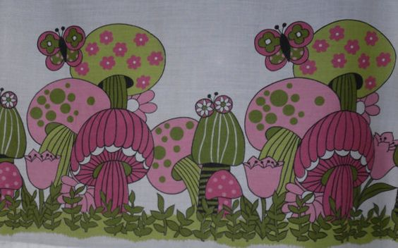 ... curtains mushrooms 1960s curtains curtain panels vintage etsy awesome