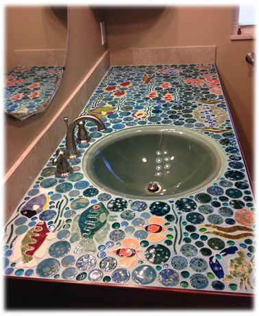 bathroom ceramic tile mosaic counter top. bathroom ceramic tile mosaic counter top   Bathrooms   Pinterest