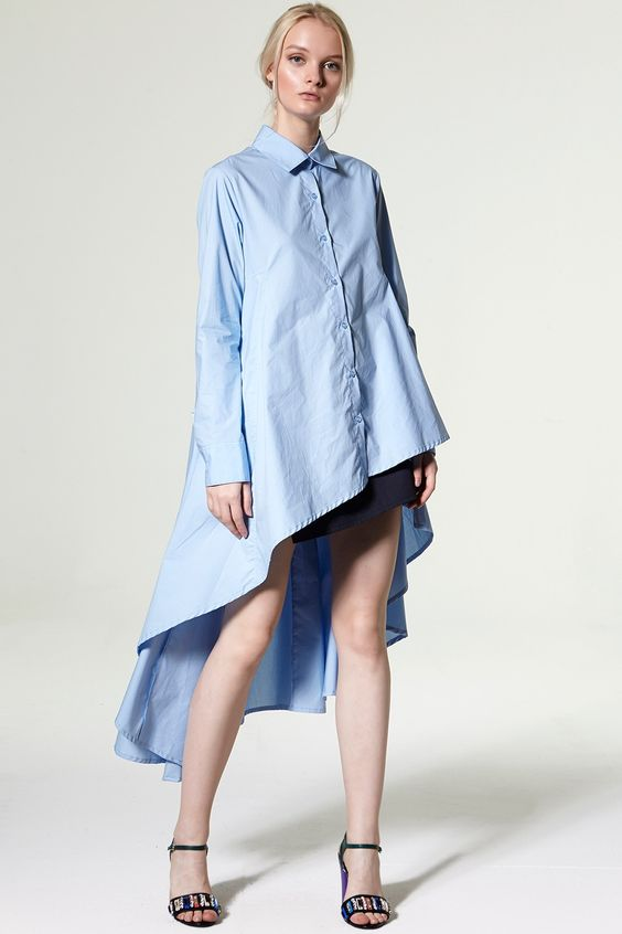 Rachael Unbalance Flare Shirt Discover the latest fashion trends online at storets.com: