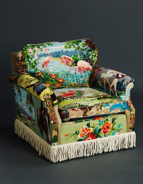 Got some large scale tapestries that you just don't know what to do with?  Take a leaf out of this book, and make a statement armchair with those bad boys! snuggalore: broderi patchwork lenestol