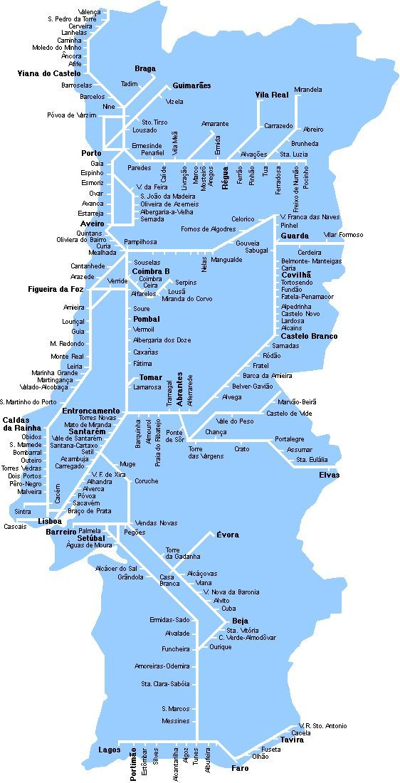 Detailed Rail Map Of Portugal Portugal Travel Portugal Train
