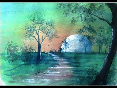 Aquarellschule Ellathefay Vollmond Youtube Aquarell Vollmond