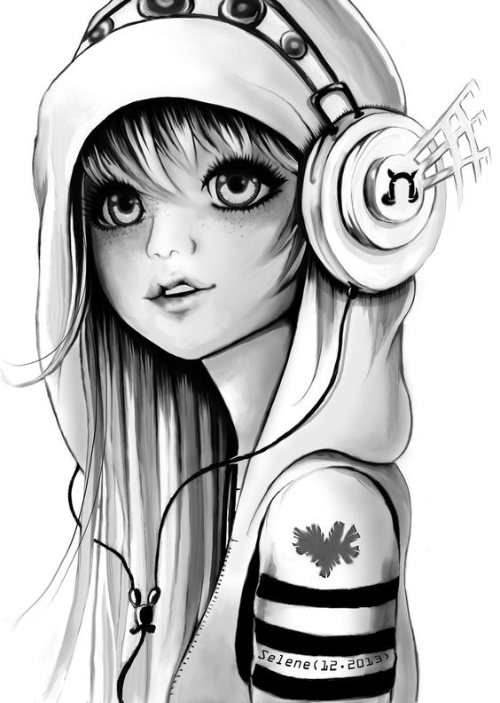 Closed in headphones bnw by TheSelenedeviantart