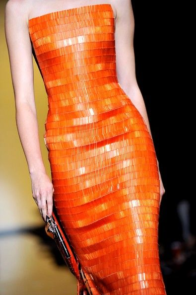 Orange:  #Orange gown, Giorgio Armani Prive: Runway - Paris Fashion Week Haute Couture F/W 2011/2012.: