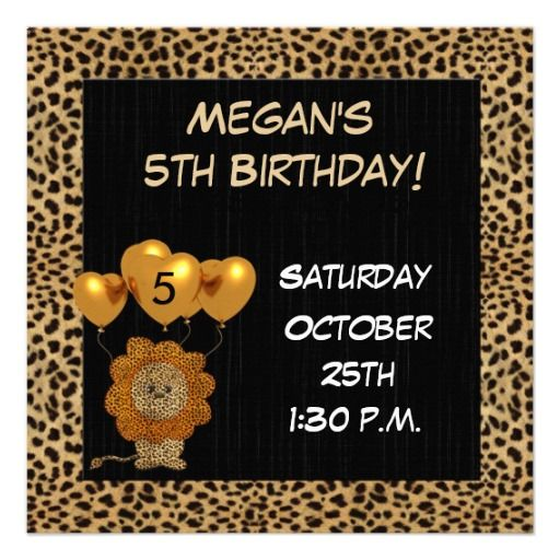 Childs 5th Birthday Party Invitation Cheetah
