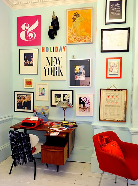 Amazing photo wall: Workspace, Home Office, Wall Color, Gallery Wall, Art Wall
