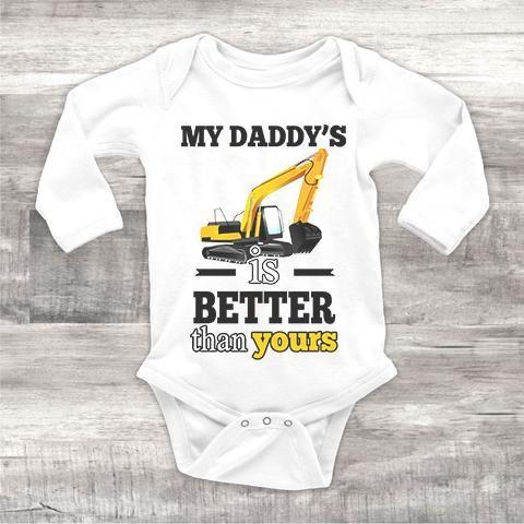 Heavy Equipment Operator Excavator Us Flag Infant Baby Boy Girl Long Sleeve Bodysuit
