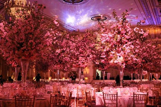 The six foot tall cherry blossom centerpiece at the Plaza Hotel