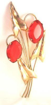 Sterling Red Rhinestone Pin from the 50's by bitzofglitz4u on Etsy, $70.00