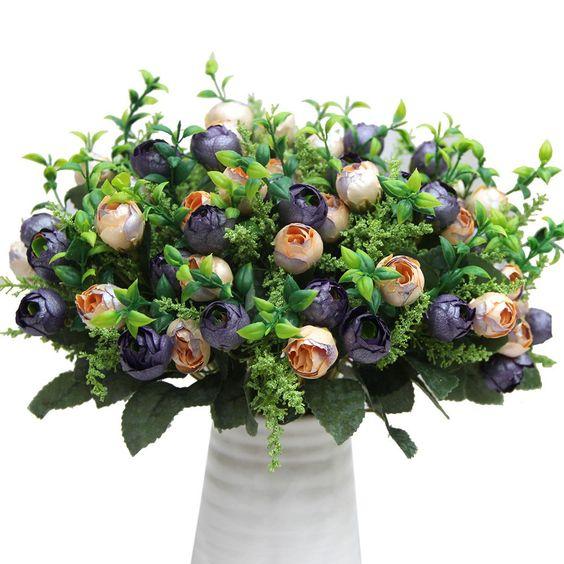 SOLEDI Ein Bündel 12-köpfe gefälschte Tee Rose Blumen künstlichen Blumenstrauß Haus Garten DIY Hochzeit Party Deko (lila)