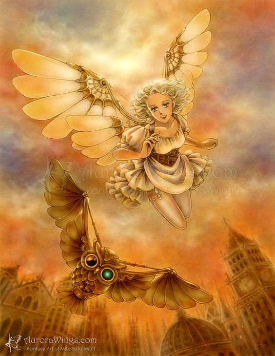 Free US Shipping - Steampunk Owl & a Girl with Mechanical Wings Fantasy Art - Steampunk Test Flight - 5x7 Signed Print - by Mitzi Sato-Wiuff