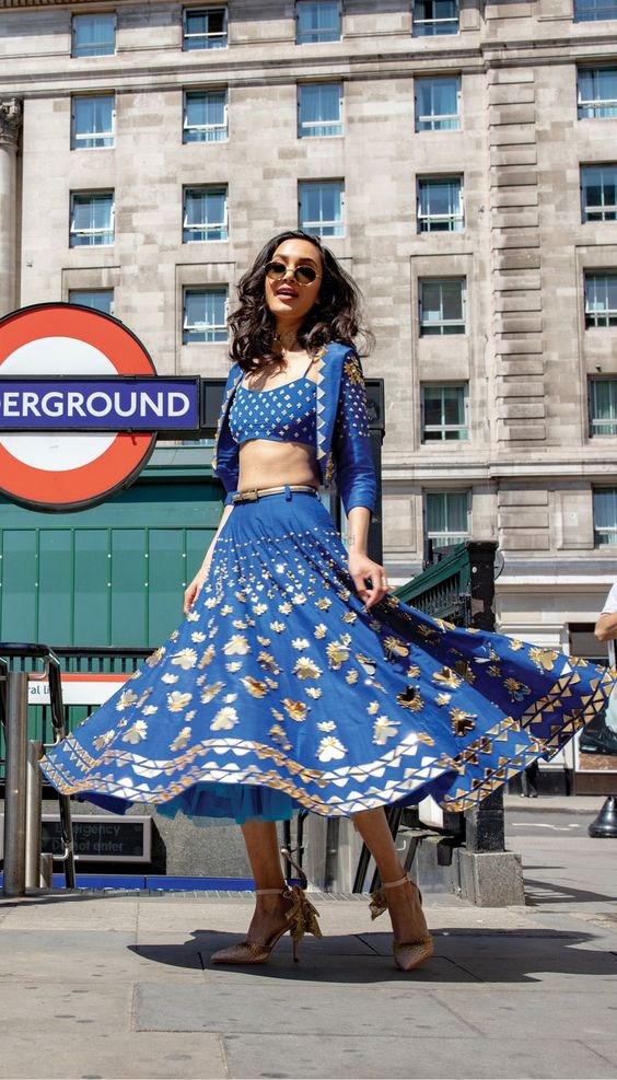 Photo of Indo western short lehenga for mehendi