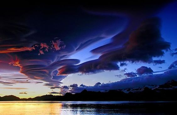 Amazing shot of lenticular clouds over Lake Crowley, California.
