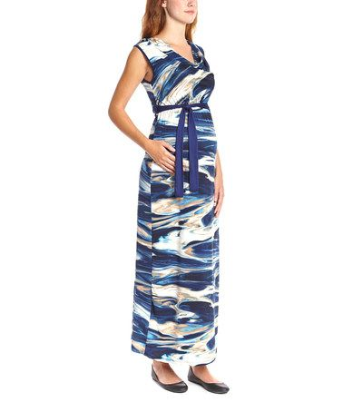 Another great find on #zulily! Blue & Tan Wave Maternity Maxi Dress by Anticipation #zulilyfinds