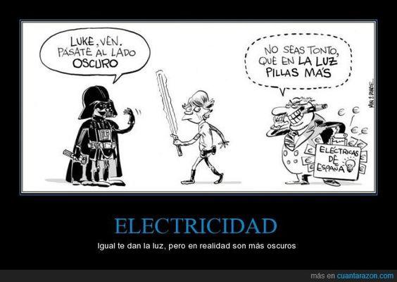 ELECTRICIDAD - Igual te dan la luz, pero en realidad son más oscuros   Gracias a http://www.cuantarazon.com/   Si quieres leer la noticia completa visita: http://www.estoy-aburrido.com/electricidad-igual-te-dan-la-luz-pero-en-realidad-son-mas-oscuros/