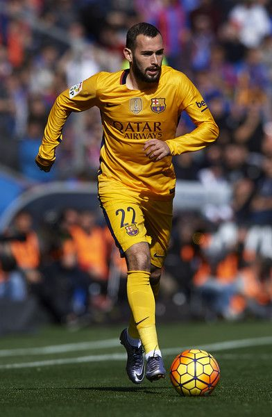 Aleix Vidal of Barcelona runs with the ball during the La Liga match between Levante UD and FC Barcelona at Ciutat de Valencia on February 07, 2016 in Valencia