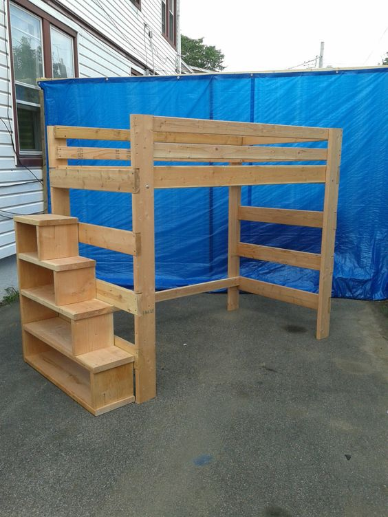 Super heavy duty loft bed with stair case shelf full size for Case loft