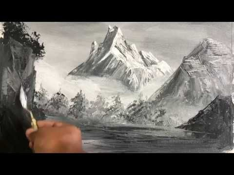 2 Color Painting Challenge Easy Black And White Acrylic Painting Ideas Landscape Paintings Black And White Painting Acrylic Painting