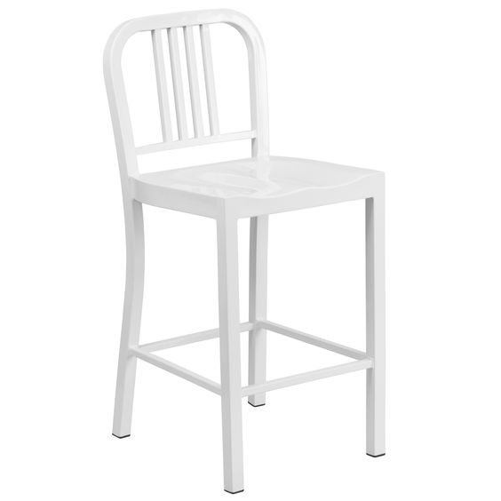 Flash Furniture 24'' High White Metal Indoor-Outdoor Counter Height Stool [CH-31200-24-WH-GG]
