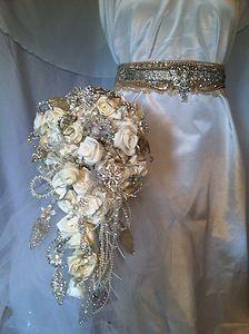 cascading brooch bouquet