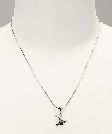 Take a look at this Green & Black Hockey Stick Mini Pendant Necklace by Violet Victoria on #zulily today!