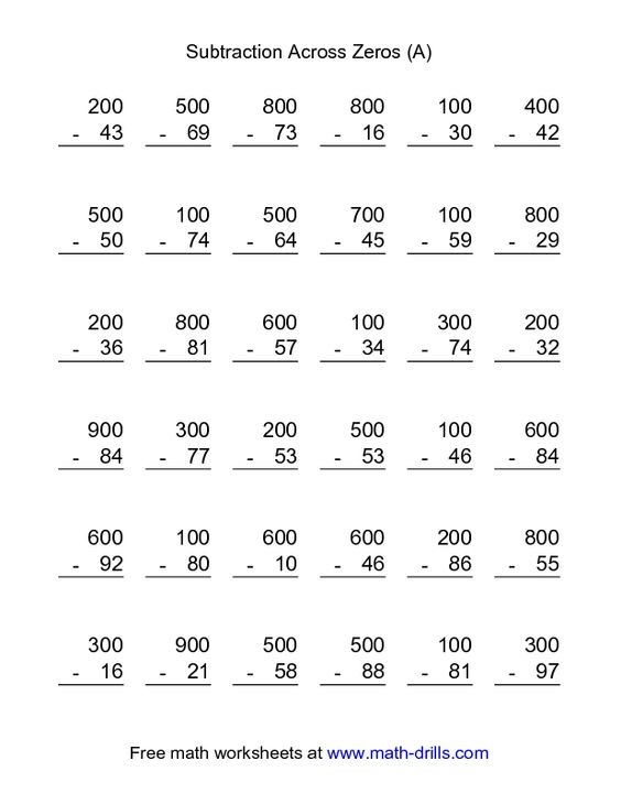 Subtraction Worksheet -- Subtraction Across Zeros -- 36 Questions ...