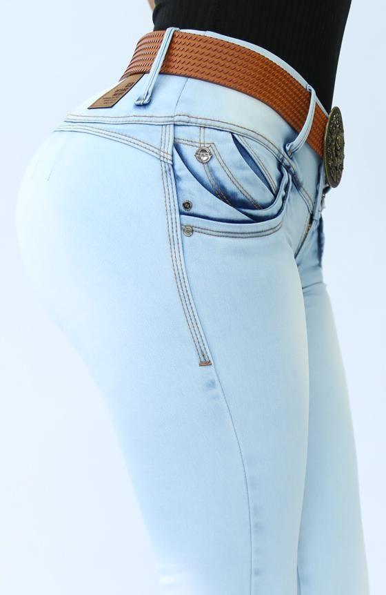 Jean Sin Bolsillo Super Realce Push Up Color Stone Bleach Tiro Medio Pretina De 3 Botones Controla Jeans De Moda Pantalones De Moda Mujer Pantalon Jean Mujer