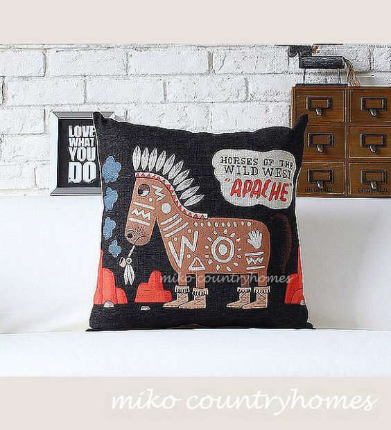 horses of the wild west throw pillow cover home room decor and throw pillows. Black Bedroom Furniture Sets. Home Design Ideas