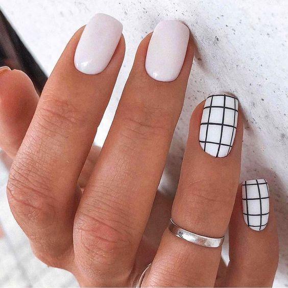 Simple Plaid Nail Art Designs In 2020 Simple Nail Designs Simple Nails Short Acrylic Nails Designs
