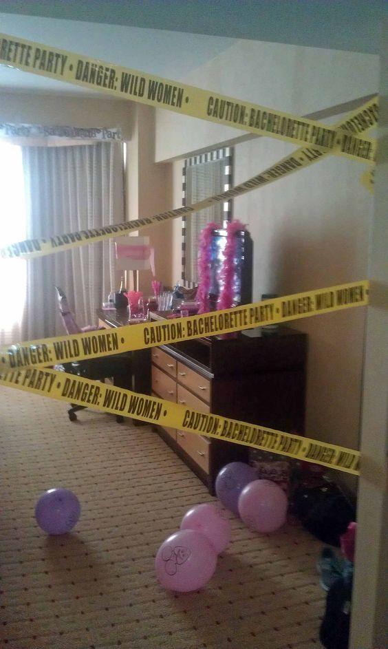 Bachelorette parties tape and hotel door on pinterest for Bachelorette bedroom ideas