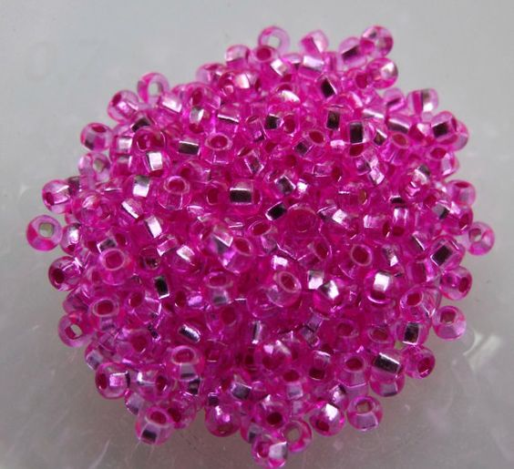 10/0 Translucent Silver Lined Fuchsia Pink Seed Beads by Chivalry